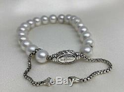 $495 David Yurman S. S 925 Pearl Spiritual Beads Bracelet 8mm Adjustable