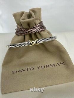 $495 David Yurman X 4mm Sterling Silver 925 Bracelet with 18K Gold Size Medium