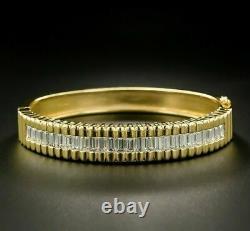 4Ct Baguette Cut Diamond VVS1/D Tennis Bracelet 14K Yellow Gold Over 7.25