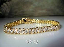 4Ct Marquise Cut Diamond VVS1/D Tennis Bracelet 14K Yellow Gold Over 7.25