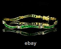 4Ct Princess Cut Green Sapphie Tennis Bracelet 14K White Gold Over 7.25