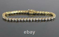 4Ct Round Brilliant Cut Diamond Tennis Bracelet 14K Solid Yellow Gold Finish