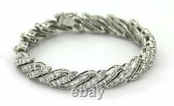 4Ct Round Cut Baguette & Diamond Link Bracelet 14K White Gold Over 7.25