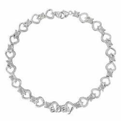 4Ct Round Cut Diamond Heart Shape Tennis Bracelet 14K White Gold Over 7.25