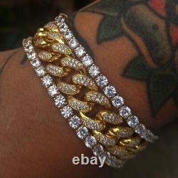 4Ct Round Cut Diamond Link Bracelet 2 Tone 14K Yellow Gold Over 7.25