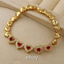 4Ct Round Cut Diamond & Red Sapphire Tennis Bracelet 14K Yellow Gold Over 7.25