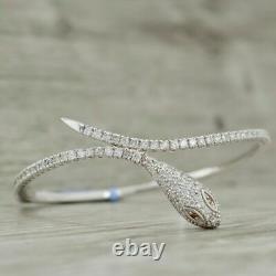 4Ct Round Cut Diamond Snake Bangle Bracelet 14K White Gold Over 7.25
