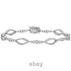 4Ct Round Cut Diamond Station-Link Bracelet 14K White Gold Over 7.25