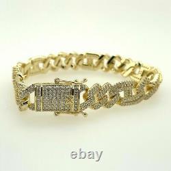 4Ct Round Cut Diamond VVS1/D Link Bracelet 14K Yellow Gold Over 7.25