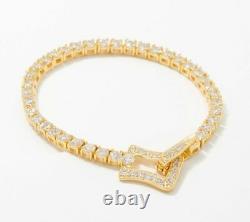 4Ct Round Cut Diamond VVS1/D Tennis Bracelet 14K Yellow Gold Over 7.25