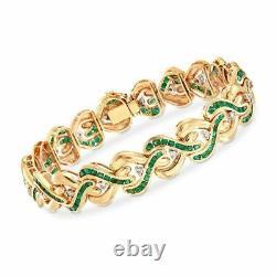 4Ct Round Cut Green Sapphie Tennis Bracelet 14K Yellow Gold Over 7.25