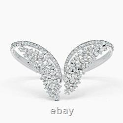 4Ct Round Cut VVS1/D Diamond Women's Wings Bangle Bracelet 14K White Gold Over