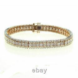 4.00Ct Princess Cut Diamond VVS1/D Tennis Bracelet 14K Yellow Gold Over 7.25