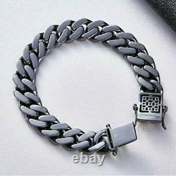 4.00Ct Round Cut Black Diamond Link Bracelet 14K Black Gold Over 7.25