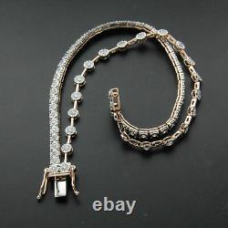 4.00Ct Round Cut Diamond 2 Row Tennis Bracelet 14K Rose Gold Over 7.25