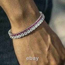 4.00Ct Round Cut Diamond Pink Sapphire Tennis Bracelet 14K White Gold Over 7.25