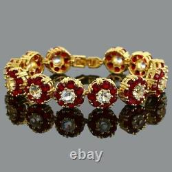 4.00Ct Round Cut Diamond & Red Sapphire Link Bracelet 14K Yellow Gold Over 7.25
