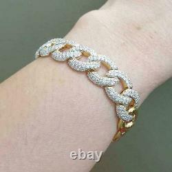4.00Ct Round Cut Diamond VVS1/D Link Bracelet 14K Yellow Gold Over 7.25
