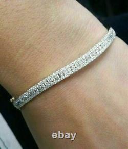 4.00Ct Round Cut Diamond VVS1/D Tennis Bracelet 14K White Gold Over 7.25