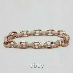 4.00Ct Round Cut VVS1/D Diamond Link Bracelet 14K Rose Gold Over 7.25