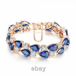 4.00 Ct Pear Cut Blue Sapphie Tennis Bracelet 14K Yellow Gold Over 7.25