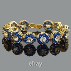 4.00 Ct Round Cut Diamond Blue Sapphire Link Bracelet 14K Yellow Gold Over 7.25