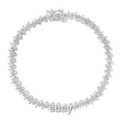 4.00 Ct Round Cut Diamond S-Link Bracelet 14K White Gold Over 7.25