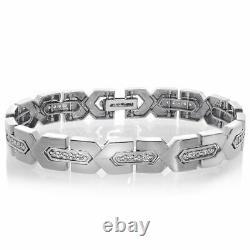 4.00 Ct Round Cut Diamond VVS1/D Link Bracelet 14K White Gold Over 7.25