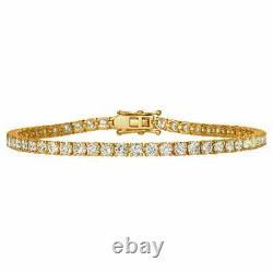 4.17 Carat 2.5 MM Diamond Tennis Women's Bracelet 7.5 14K Yellow Gold Over