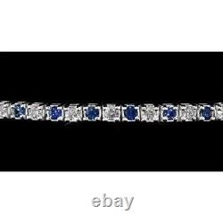 4.90 Carats Blue Sapphire & Diamond Tennis Bracelet 7.25 In 14K White Gold Over