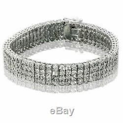 4 Row Men's 8.00 CT Round Cut Diamond Tennis Bracelet 8 14K White Gold Over