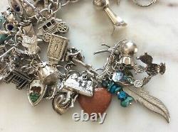 53 Vintage Sterling Silver Charm Bracelet Enamel American West