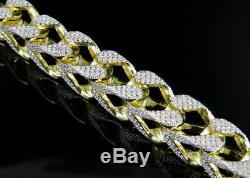 5Ct Round Cut Diamond Mens Miami Curb Cuban Link Bracelet 14K Yellow Gold Over