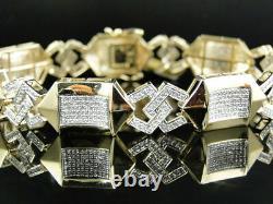 5Ct Round Cut VVS1 Diamond Mens Pave Set Bracelet 14K Yellow Gold Over