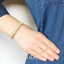5.00Ct Oval Fire Opal & Diamond 7.25 Tennis Bracelet 14k Yellow Gold Over