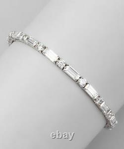 5.00 CT D/VVS1 Round and Baguette Diamond Tennis Bracelet 14k White Gold Over