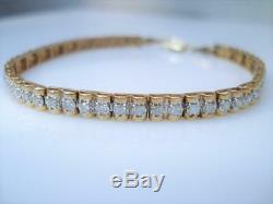 5.00 Carat Round Cut VVS1 Diamond Tennis Bracelet 14k Yellow Gold Over 7