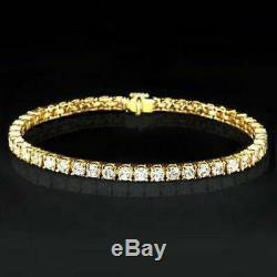 5.00 Carat Round Diamond Link Tennis Ladies Bracelet 14K Yellow Gold Over 7.25