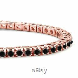 5.00 Ct Round Cut Black Diamond Link Tennis Bracelet 7 14K Rose Gold Over