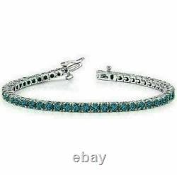 5.00 Ct Round Cut Blue Topaz Tennis Bracelet 14k White Gold Over Women's 7 Inch