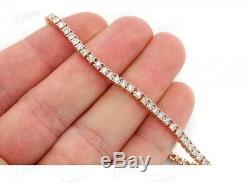 5.00 Ct Round-Cut D/VVS1 Diamond Tennis Bracelet 14k Rose Gold Over 7.25 Inch