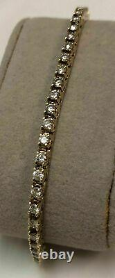 5.00 Ct Round Diamond Link Tennis Ladies Bracelet In 14K Yellow Gold Over 6.75