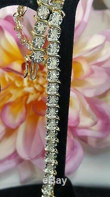 5.00 Ct Round Diamond S Link Tennis Ladies Bracelet 14K Yellow Gold Over 7.25