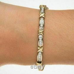 5.30 CT Round Diamond X Link Tennis Fancy Bracelet In 14K Yellow Gold Over