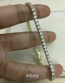 5. Ct Round Cut White Round Diamond Tennis Bracelet 7.25 In 14k Yellow Gold Over