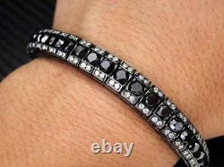 5 ct Black & White Round Diamond Men's Tennis Bracelet 925 Sterling Silver 8