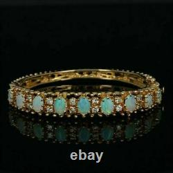 6.00Ct Oval Fire Opal & Diamond 7.25Tennis Bracelet 14k Yellow Gold Over