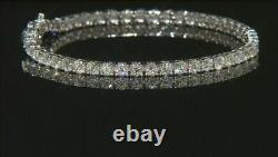 6.00Ct Round Brilliant Cut Moissanite 14k White Gold Over Tennis Bracelet 7.25
