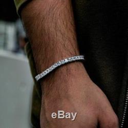 6.00 CT Princess Cut Diamond 14k White Gold Over Men's Tennis Bracelet 8Inch