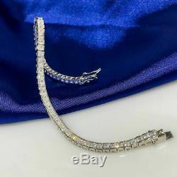 6.00 CT Princess White Diamond Tennis Bracelet 7 Inch 14K White Gold Over